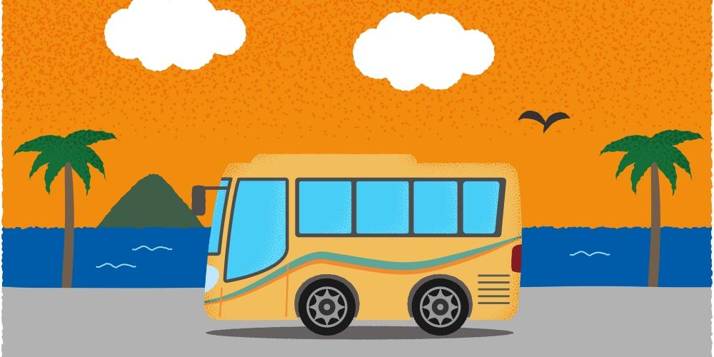 貸切バスとサンセットのイラスト